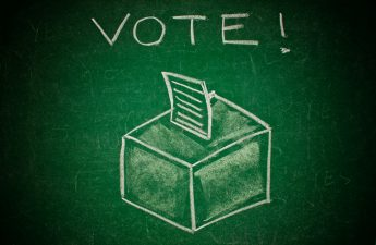 Ballot Box on a Chalkboard